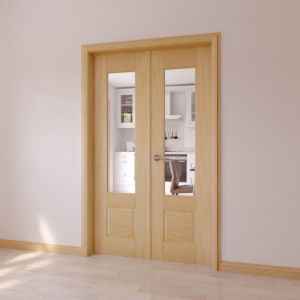 Image of 1 Lite Clear 2 Panel Internal French Door (H)2020mm (W)1230mm