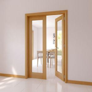 1 Lite Glazed Shaker Oak veneer Internal French Door set  (H)2030mm (W)770mm