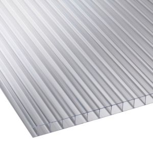 Image of Clear Multiwall Polycarbonate Roofing Sheet 2.4M x 700mm Pack of 5