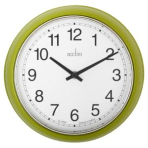 View Lorene Retro Black, Lime Green & White Round Clock details