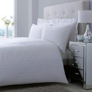 Satin Striped White Double Bed Cover Set
