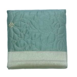 Image of Chartwell Amy Duck egg Floral Quilted Bed runner