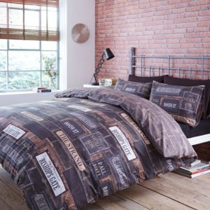 Saville Row Road Signs & Brickwork Black King Size Bed Cover Set