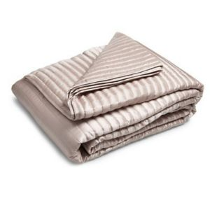 Oyster Quilted Ribbed Bedspread Throw