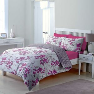 Image of Chartwell Floral Blossom Floral Blossom & Striped Amethyst King Size Bed Set