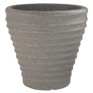 View Maroc Lightweight Round Plastic Light Grey Ceramic Effect Plant Pot (H)42cm (Dia)43cm details