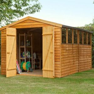 View Larchlap 12X8 Apex Overlap Wooden Shed - Assembly Required details