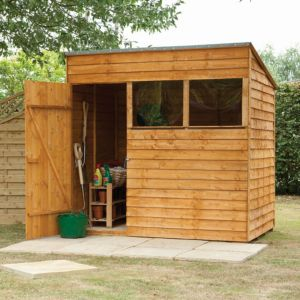 View Larchlap 7X5 Pent Overlap Wooden Shed with Assembly Service details