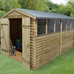 View Larchlap 12X8 Apex Overlap Wooden Shed - with Assembly Service details