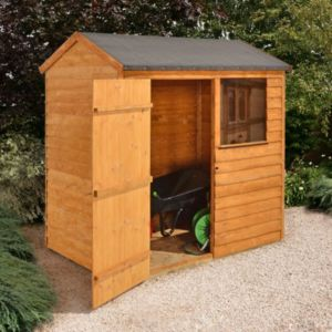 View Larchlap 6X4 Reverse Apex Overlap Wooden Shed Base Included details