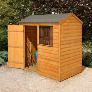 View Larchlap 6X4 Reverse Apex Overlap Wooden Shed Base Included with Assembly Service details