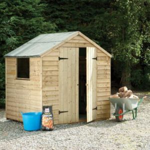View Larchlap 7X5 Apex Overlap Wooden Shed Base Included with Assembly Service details