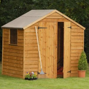 View Larchlap 7X5 Pent Overlap Wooden Shed - with Assembly Service details