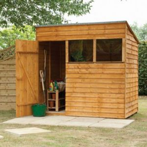 View Larchlap 7X5 Pent Overlap Wooden Shed Base Included with Assembly Service details