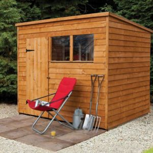 View Larchlap 8X6 Pent Overlap Wooden Shed Base Included with Assembly Service details