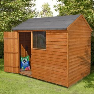 View Larchlap 8X6 Reverse Apex Overlap Wooden Shed Base Included details