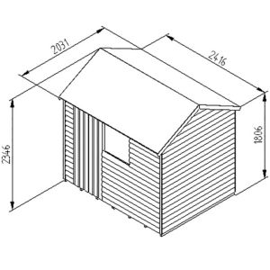 View Larchlap 8X6 Reverse Apex Overlap Wooden Shed Base Included with Assembly Service details