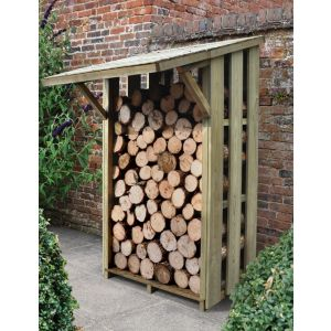 Image of 4X4 Pent Wooden Flip Roof Log Store