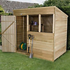 7X5 Forest Pent Overlap Wooden Shed with Assembly Service Base Included