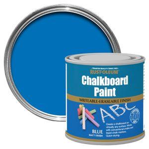 Image of Rust-Oleum Blue Matt Chalkboard paint 0.25L