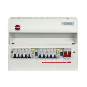 Image of Wylex 100A 10-Way Metal High Integrity Dual RCD Populated Consumer Unit