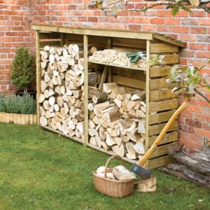 Image of Pent Wooden Log store 7x2