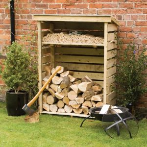 Image of 4X2 Pent Wooden Log Store