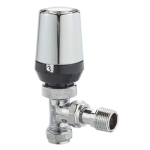 View Regis & Chrome Effect Angled Thermostatic Radiator Valve details