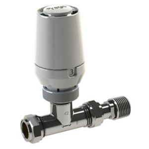 View Regis White & Chrome Effect Straight Thermostatic Radiator Valve & Lockshield Set details