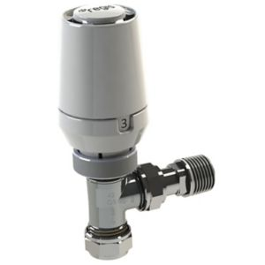 View Regis White Angled Thermostatic Radiator Valve details