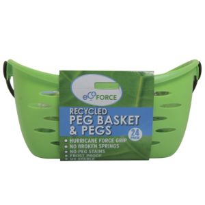 View Ecoforce Green Clothes Pegs & Basket, Kit Of 24 details