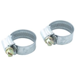 Image of Eliza Tinsley Zinc-plated Steel Worm drive Hose clip (Dia)18mm-25mm Pack of 2