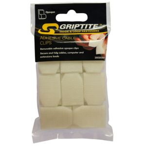 Image of Griptite Clear Removable Adhesive Cable Clip Pack of 16