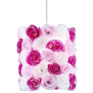 View Lights By B&Q Posy Pink & White Floral Light Shade details