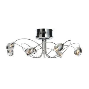 Image of Aero Chrome Effect 8 Lamp Semi Flush Ceiling Light