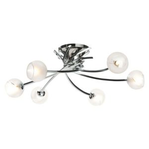 View Tempest Swirl Chrome Effect 6 Lamp Semi Flush Ceiling Light details