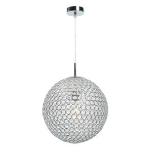 View Lopez Crystal Bead Chrome Effect Pendant Ceiling Light details
