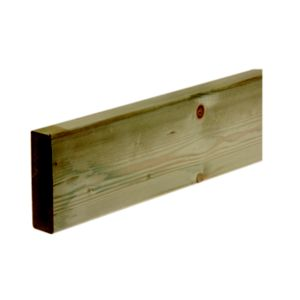 View Metsä Wood Deck Board Green Softwood Deck Joist (W)144mm (L)2400mm (T)44mm details