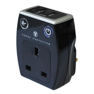 Masterplug Black Gloss 13A Surge Adaptor