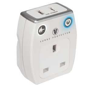 Masterplug Grey & White Gloss 13A USB Adaptor Plug