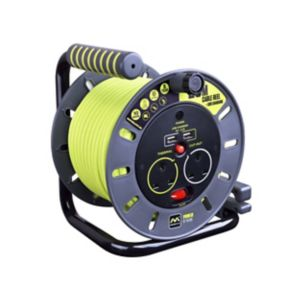 Image of Masterplug 2 socket Cable reel with USBs 20m