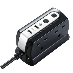 Image of Masterplug 4 socket Black Extension lead 2m