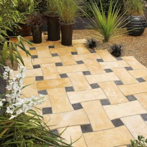 View Soft Beige/Blue Black Woven Mixed Size Paving Pack, 6.30m² details