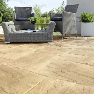 View Beige Wetherdale Mixed Size Paving Pack, 5m² details
