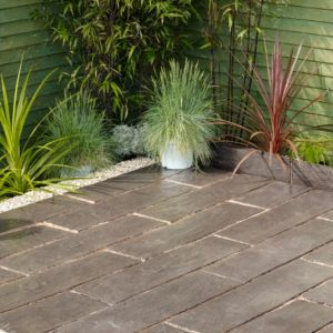 View Contemporary Layered Slate Effect Paving Edging Dark Grey, (L)900mm (H)225mm (T)50mm Pack of 23 details