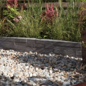 View Serrated Layered Slate Effect Edging Dark Grey, (L)900mm (H)225mm (T)50mm Pack of 23 details