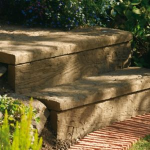 View Traditional Stonewood Log Sleeper Paving, Boder Edging, Stepping Stones Antique Brown, (L)250mm (H)250mm (T)40mm Of 46 details