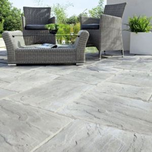 View Weathered Grey Wetherdale Paving Slab (L)450mm (W)450mm details