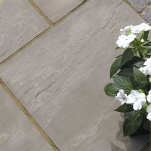 View Silver Grey Natural Sandstone Mixed Size Paving Pack, 15.30 m² details