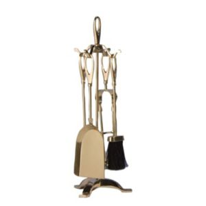 View Slemcka Brass 5 Piece Fireplace Companion Set details
